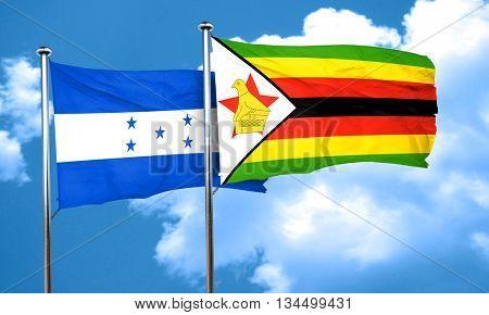 Honduras flag with Zimbabwe flag, 3D rendering