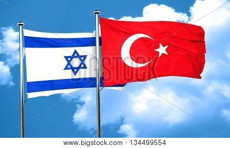 Israel flag with Turkey flag, 3D rendering