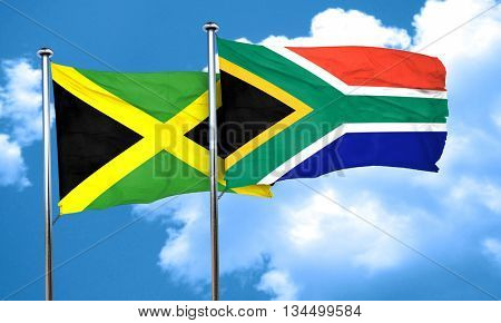 Jamaica flag with South Africa flag, 3D rendering