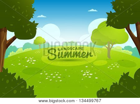 Summer flat landscape. Summer cartoon background. Meadow with flowers in the forest