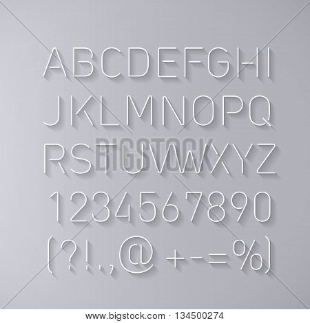 Font Thin Lines with Shadow Isolated on Gray Background