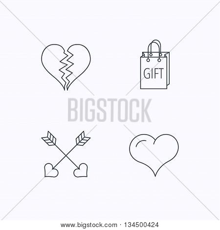 Love heart, gift box and arrows icons. Broken heart or divorce linear signs. Flat linear icons on white background. Vector