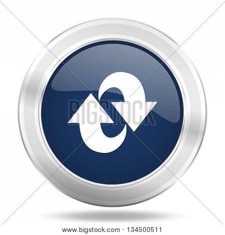 rotation icon, dark blue round metallic internet button, web and mobile app illustration