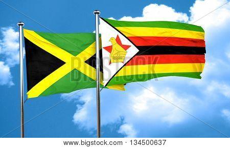 Jamaica flag with Zimbabwe flag, 3D rendering