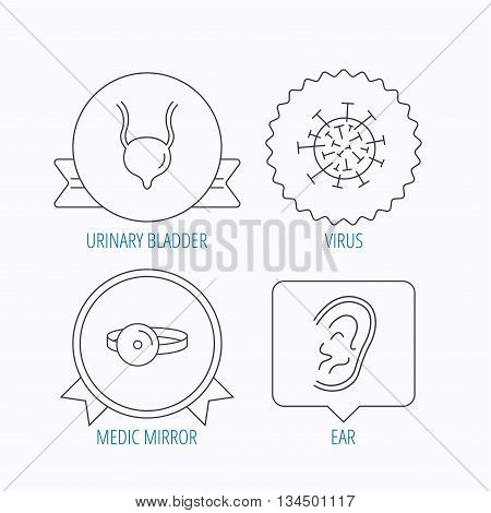 Virus, urinary bladder and ear icons. Medical mirror linear signs. Award medal, star label and speech bubble designs. Vector