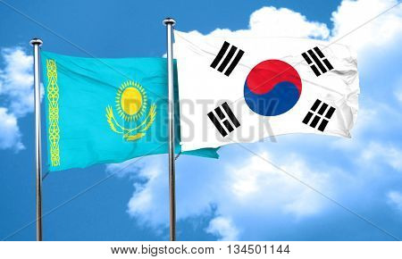 Kazakhstan flag with South Korea flag, 3D rendering