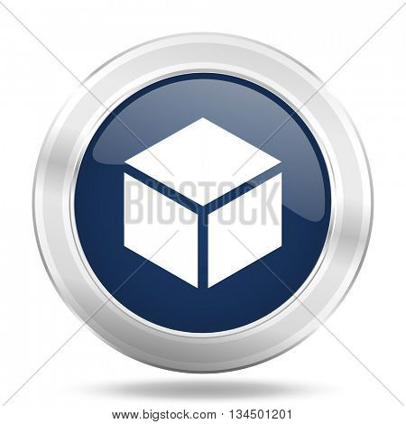box icon, dark blue round metallic internet button, web and mobile app illustration