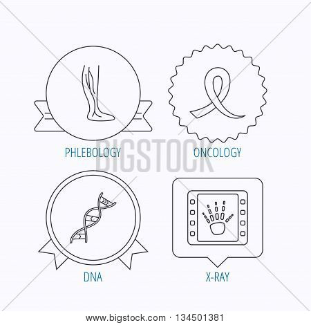 Phlebology, DNA and X-ray icons. Oncology awareness ribbon linear sign. Award medal, star label and speech bubble designs. Vector