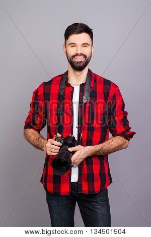 Handsome Young Bearded Happy Man Holding Professional Camera