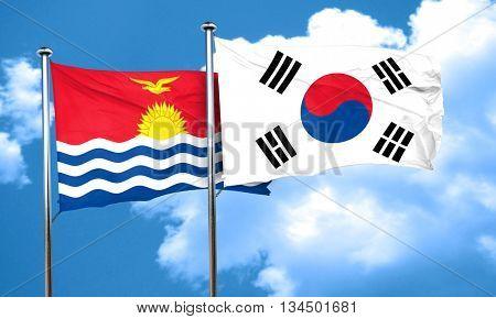 Kiribati flag with South Korea flag, 3D rendering