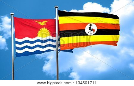 Kiribati flag with Uganda flag, 3D rendering