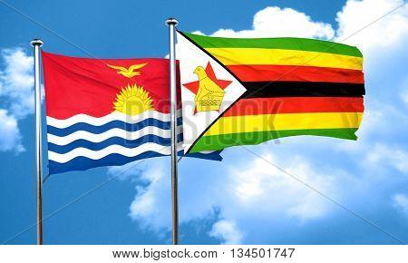 Kiribati flag with Zimbabwe flag, 3D rendering