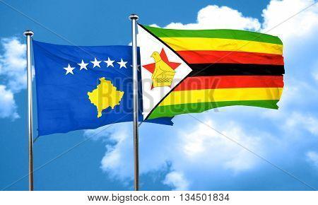 Kosovo flag with Zimbabwe flag, 3D rendering