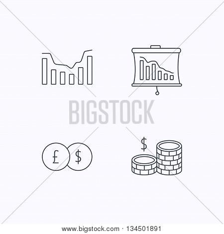 Banking, cash money and statistics icons. Dynamics, currency exchange linear signs. Flat linear icons on white background. Vector