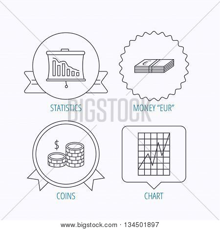 Chart, cash money and statistics icons. Coins linear sign. Award medal, star label and speech bubble designs. Vector