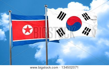 North Korea flag with South Korea flag, 3D rendering