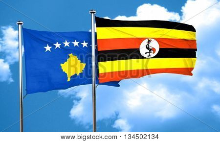 Kosovo flag with Uganda flag, 3D rendering