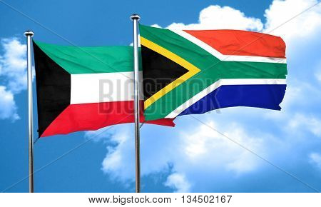 Kuwait flag with South Africa flag, 3D rendering