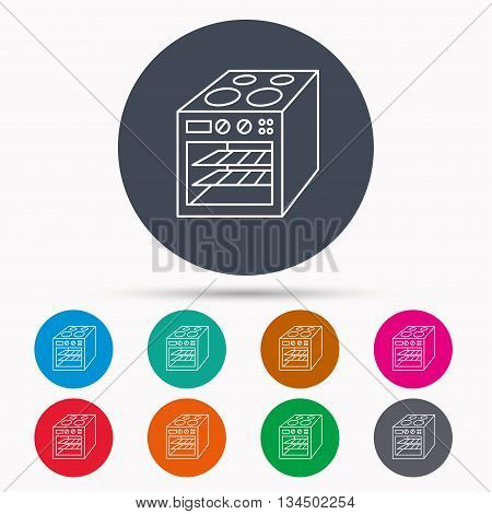 Oven icon. Electric stove sign. Icons in colour circle buttons. Vector