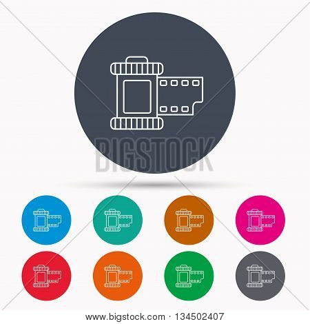 Retro photo icon. Camera roll sign. Icons in colour circle buttons. Vector