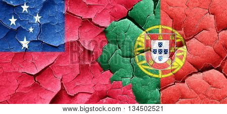 Samoa flag with Portugal flag on a grunge cracked wall