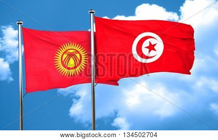 Kyrgyzstan flag with Tunisia flag, 3D rendering