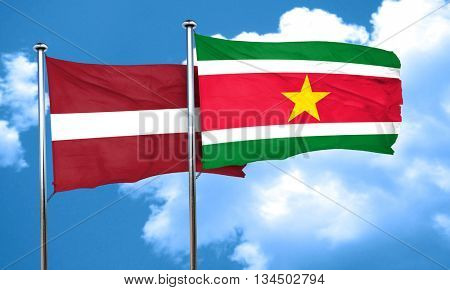 Latvia flag with Suriname flag, 3D rendering