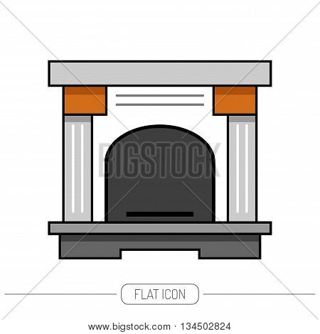 Flat color icon fireplace, stove isolated on white background. Vector illustration