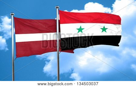 Latvia flag with Syria flag, 3D rendering