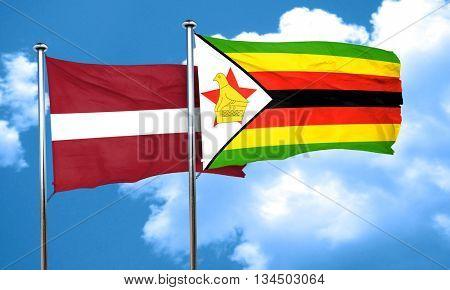 Latvia flag with Zimbabwe flag, 3D rendering
