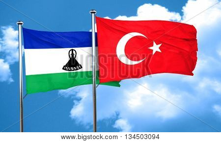 Lesotho flag with Turkey flag, 3D rendering