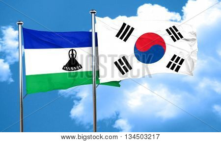 Lesotho flag with South Korea flag, 3D rendering