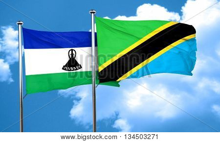 Lesotho flag with Tanzania flag, 3D rendering