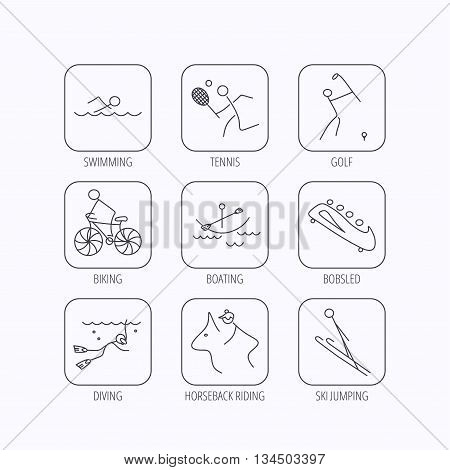 Swimming, tennis and golf icons. Biking, diving and horseback riding linear signs. Ski jumping, boating and bobsleigh icons. Flat linear icons in squares on white background. Vector