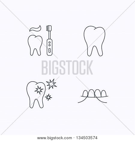 Dental floss, tooth and healthy teeth icons. Brushing teeth linear sign. Flat linear icons on white background. Vector