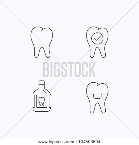 Tooth, dental crown and mouthwash icons. Check teeth linear sign. Flat linear icons on white background. Vector