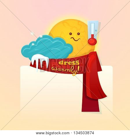 Concept design of the seasonal weather changes, sun cute character upset temperature reduction and encourages dress warmer, vector illustration with space for text