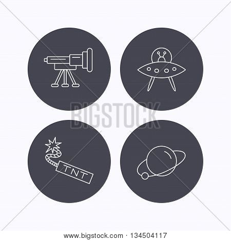 Ufo, planet and telescope icons. TNT dynamite linear sign. Flat icons in circle buttons on white background. Vector