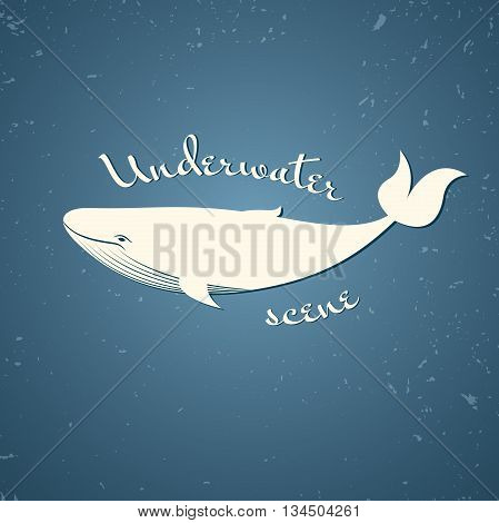 Big blue whale on the old background with cracks, vector retro illustration