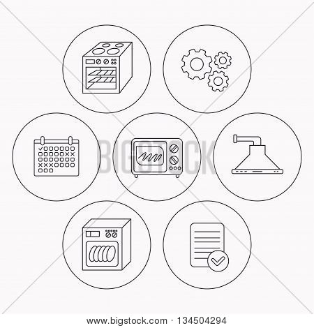 Microwave oven, dishwasher and kitchen hood icons. Oven linear sign. Check file, calendar and cogwheel icons. Vector