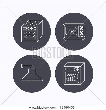 Microwave oven, dishwasher and kitchen hood icons. Oven linear sign. Flat icons in circle buttons on white background. Vector