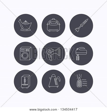 Washing machine, teapot and blender icons. Refrigerator fridge, juicer and steam ironing linear signs. Hair dryer, juicer icons. Flat icons in circle buttons on white background. Vector