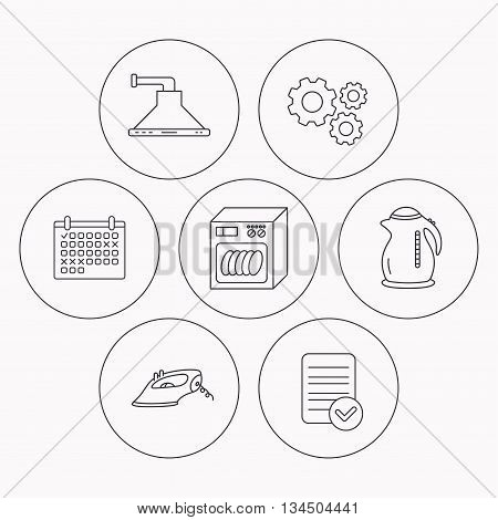 Dishwasher, kettle and kitchen hood icons. Iron linear sign. Check file, calendar and cogwheel icons. Vector
