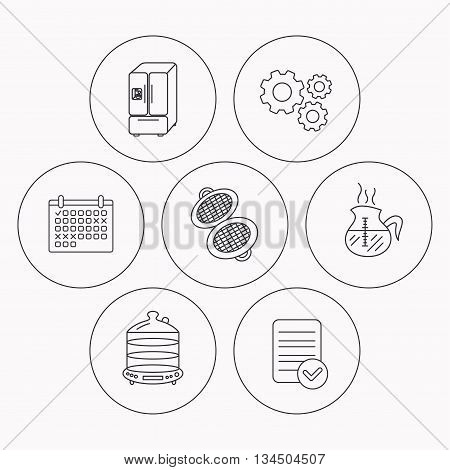 Waffle-iron, coffee and steamer icons. American style fridge linear signs. Check file, calendar and cogwheel icons. Vector