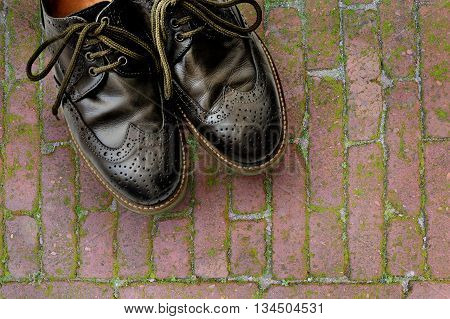 Men's leather shoes on the background of brick pavers