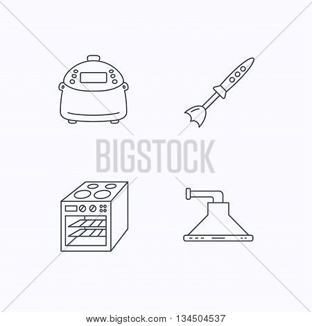 Oven, kitchen hood and blender icons. Multicooker linear sign. Flat linear icons on white background. Vector
