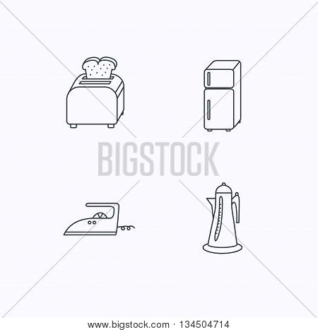 Toaster, refrigerator and iron icons. Kettle linear sign. Flat linear icons on white background. Vector