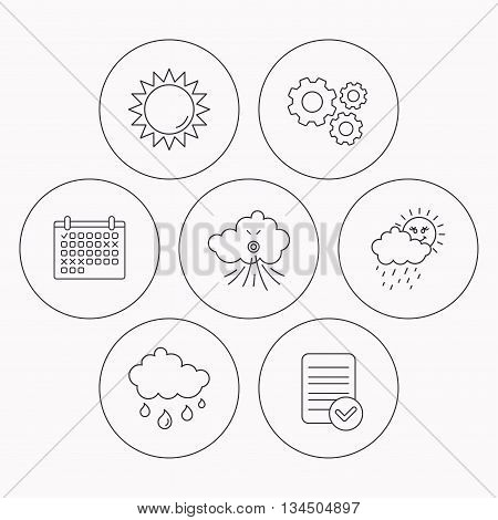 Weather, sun and wind icons. Rainy day linear sign. Check file, calendar and cogwheel icons. Vector