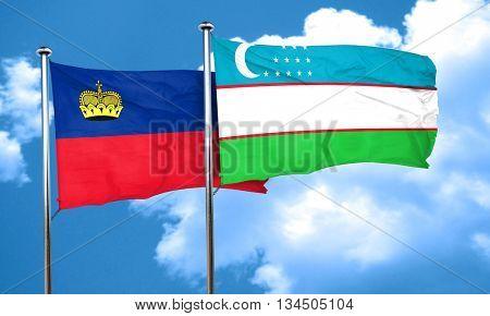 Liechtenstein flag with Uzbekistan flag, 3D rendering