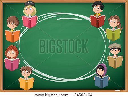 Cartoon children reading books over green chalkboard blackboard. Students.